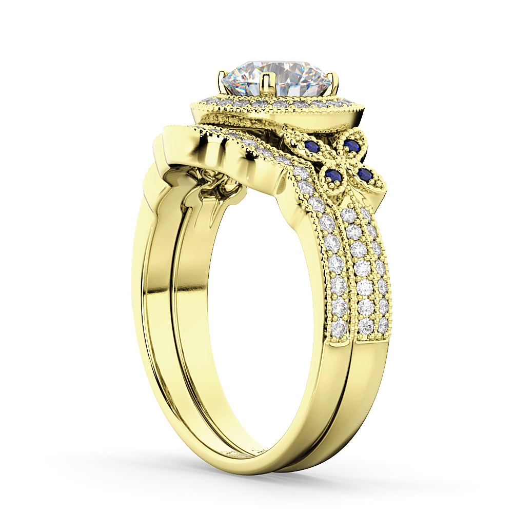 Butterfly Diamond & Sapphire Engagement Set 14k Yellow Gold (0.50ct)