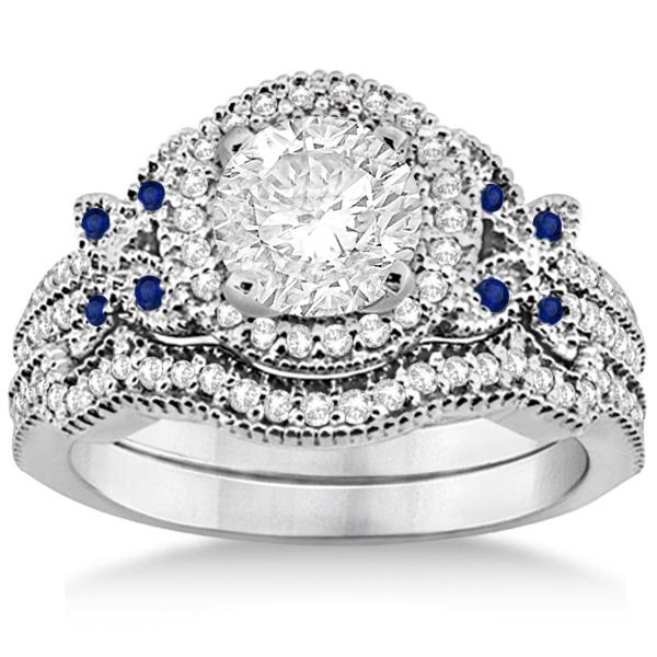Butterfly Diamond & Sapphire Engagement Set Palladium (0.50ct)