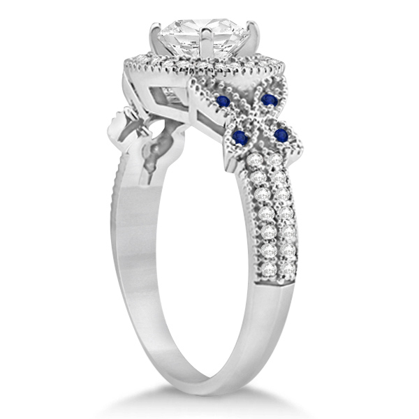 Butterfly Diamond & Sapphire Engagement Set Palladium (0.50ct)
