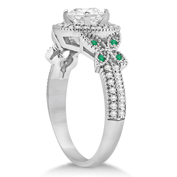 Halo Diamond & Emerald Butterfly Engagement Ring 14k White Gold (0.35ct)