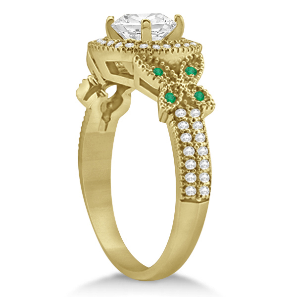 Halo Diamond & Emerald Butterfly Engagement Ring 14k Yellow Gold (0.35ct)