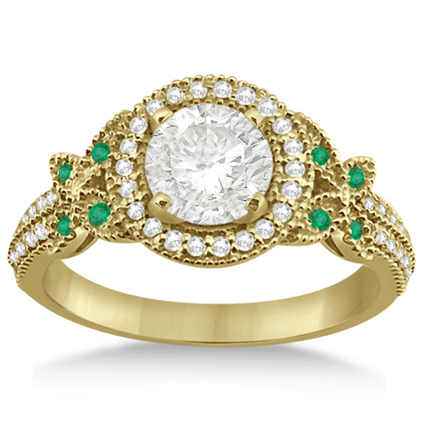 Butterfly Diamond & Emerald Engagement Ring & Band 14k Yellow Gold (0.50ct)