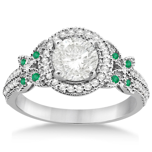 Butterfly Diamond & Emerald Engagement Ring & Band 18k White Gold (0.50ct)