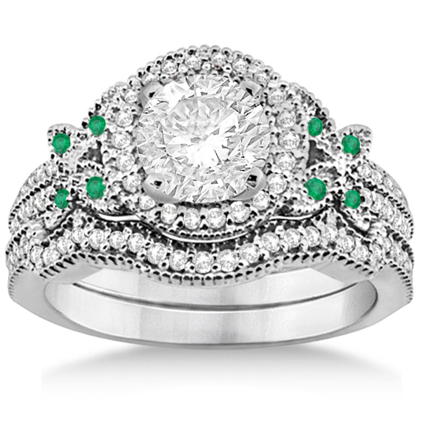 Butterfly Diamond & Emerald Engagement Ring & Band Platinum (0.50ct)