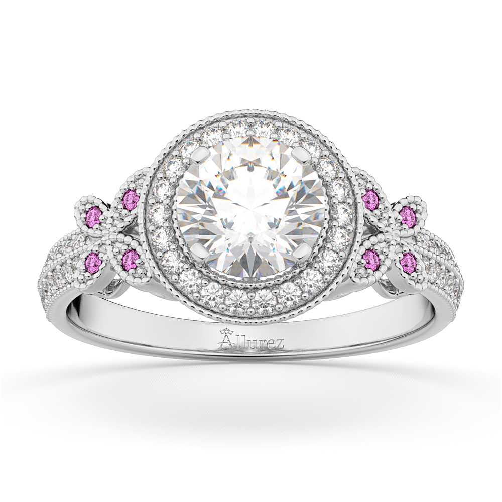 Diamond & Pink Sapphire Butterfly Engagement Ring 14k White Gold (0.35ct)