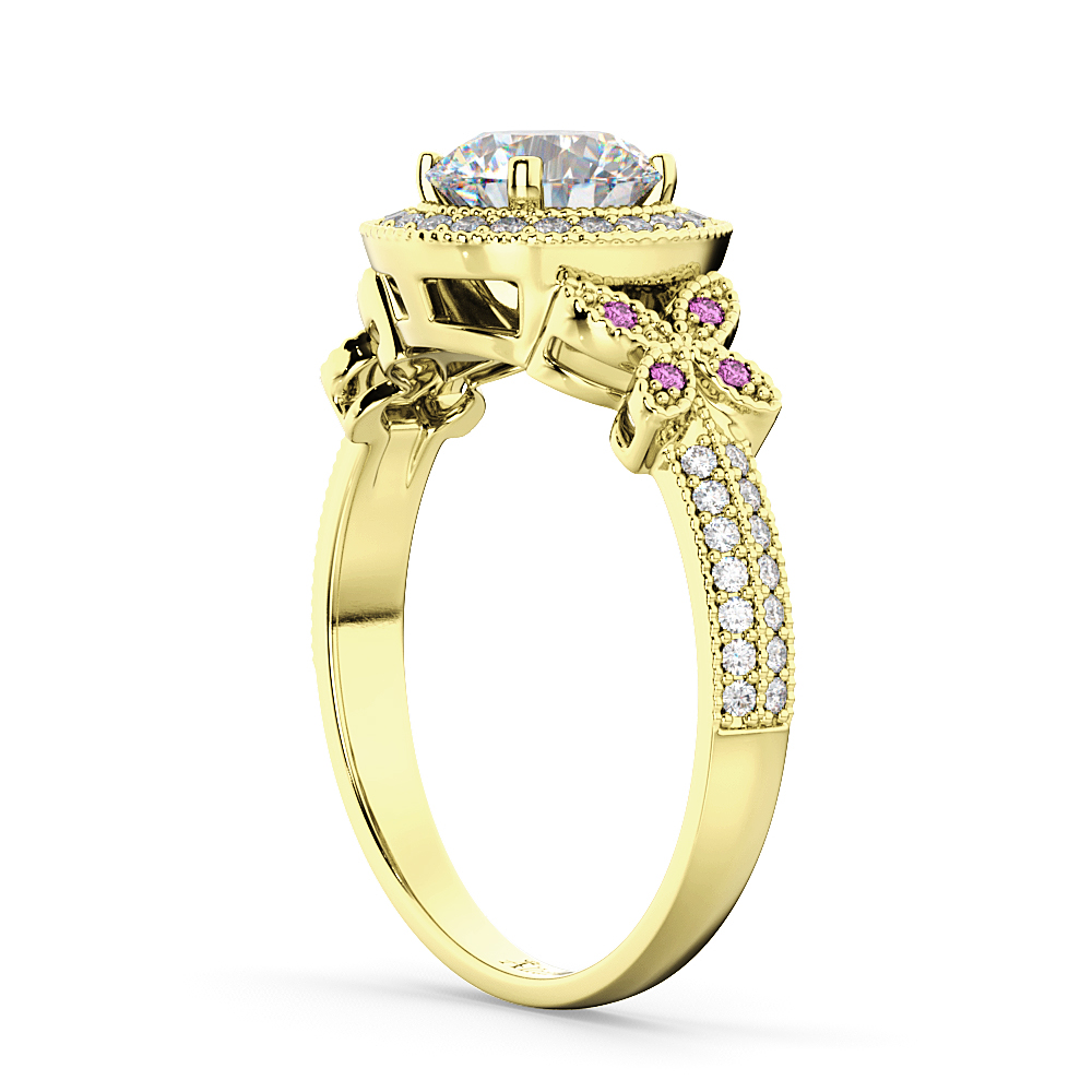 Diamond & Pink Sapphire Butterfly Engagement Ring 14k Yellow Gold (0.35ct)