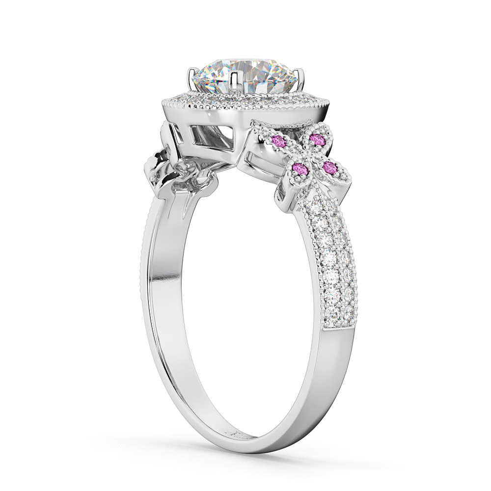 Diamond & Pink Sapphire Butterfly Engagement Ring 18k White Gold (0.35ct)