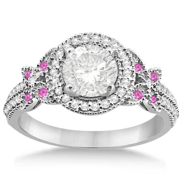 Diamond & Pink Sapphire Butterfly Engagement Ring Palladium (0.35ct)