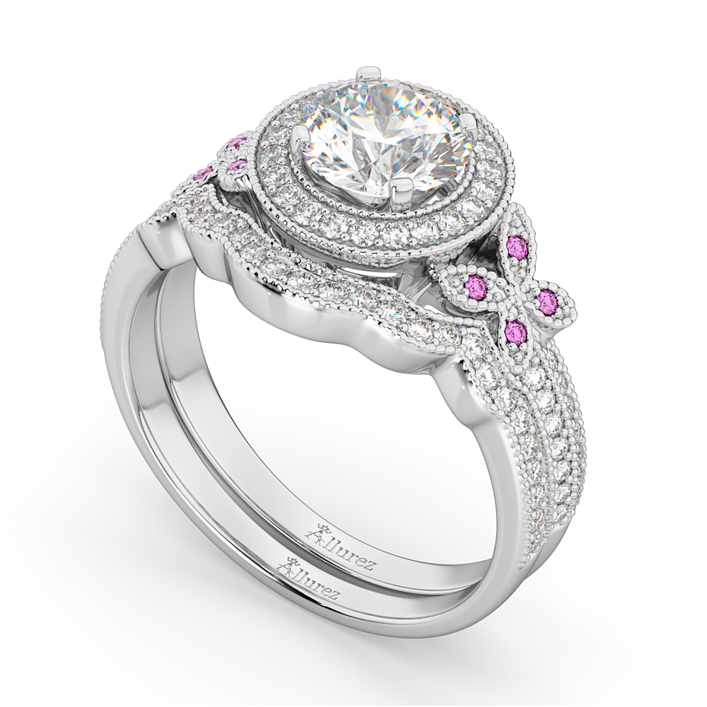 Butterfly Diamond & Pink Sapphire Engagement Set 14k White Gold (0.50ct)