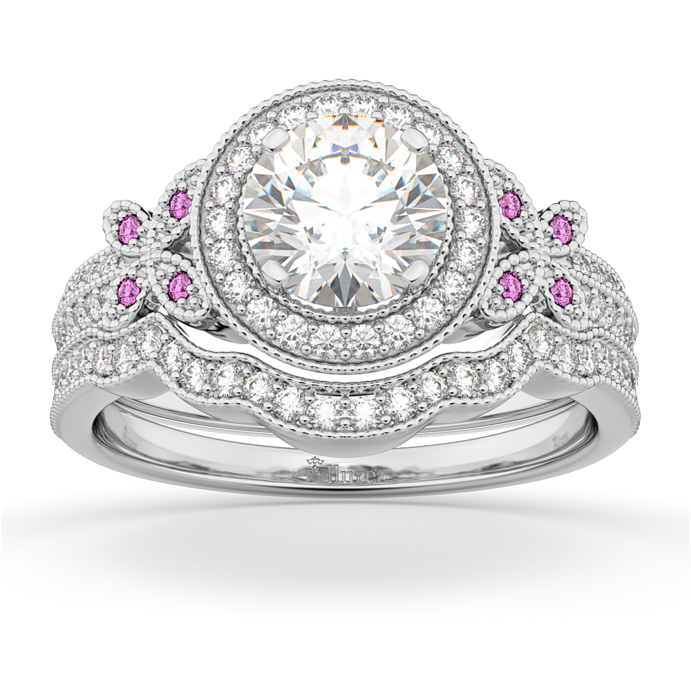 Butterfly Diamond & Pink Sapphire Engagement Set 18k White Gold (0.50ct)
