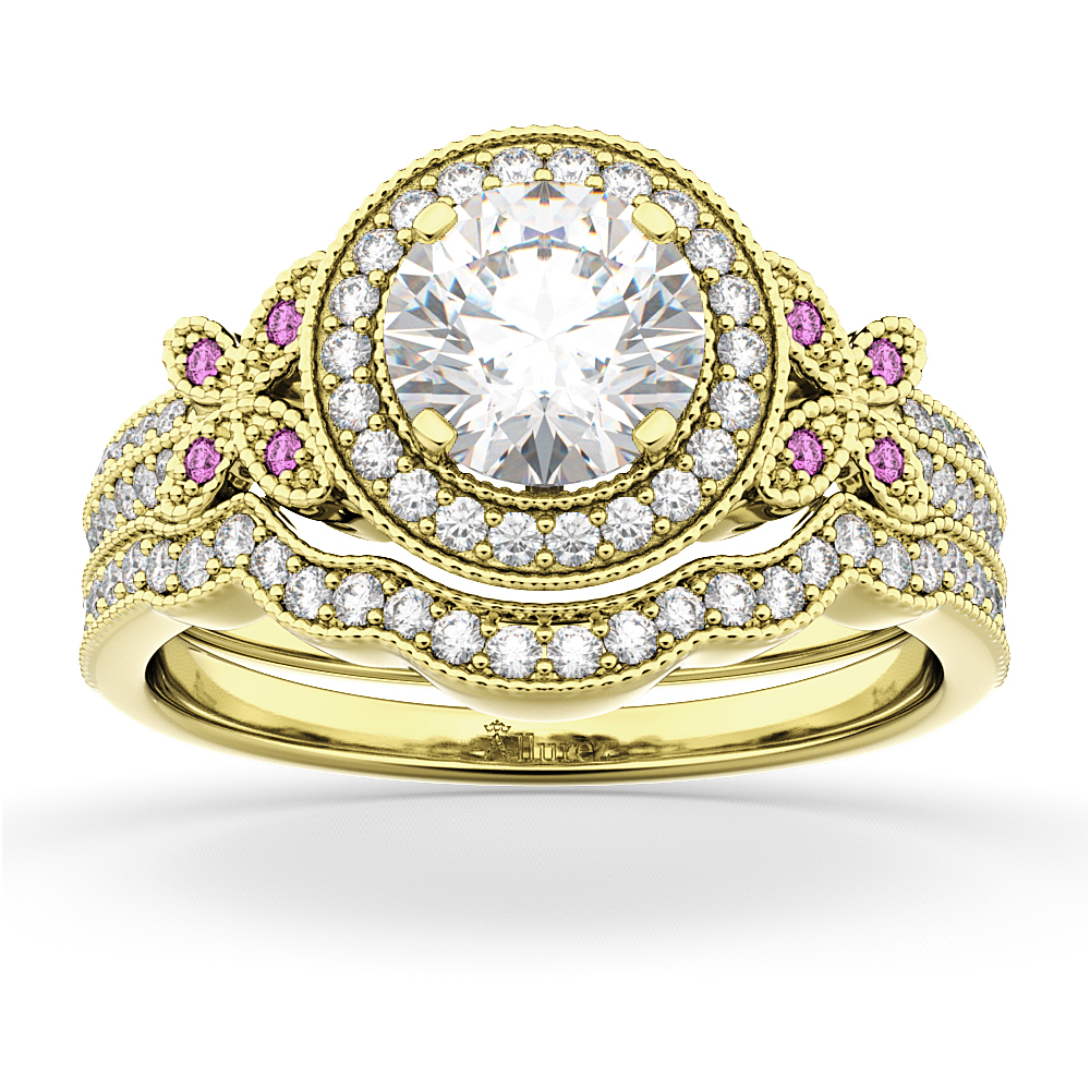 Butterfly Diamond & Pink Sapphire Engagement Set 18k Yellow Gold (0.50ct)