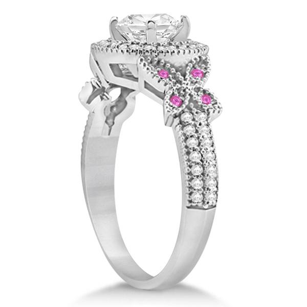 Butterfly Diamond & Pink Sapphire Engagement Set Palladium (0.50ct)
