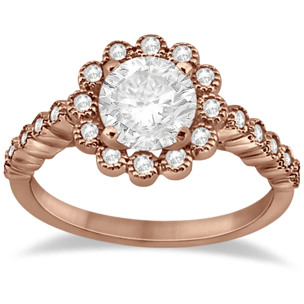 Diamond Halo Flower Engagement Ring Setting 14k Rose Gold (0.33ct)
