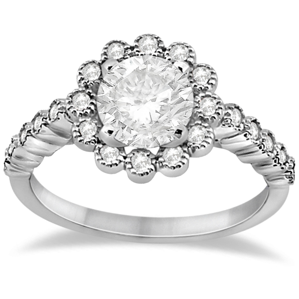 Diamond Halo Flower Engagement Ring Setting 14k White Gold (0.33ct)