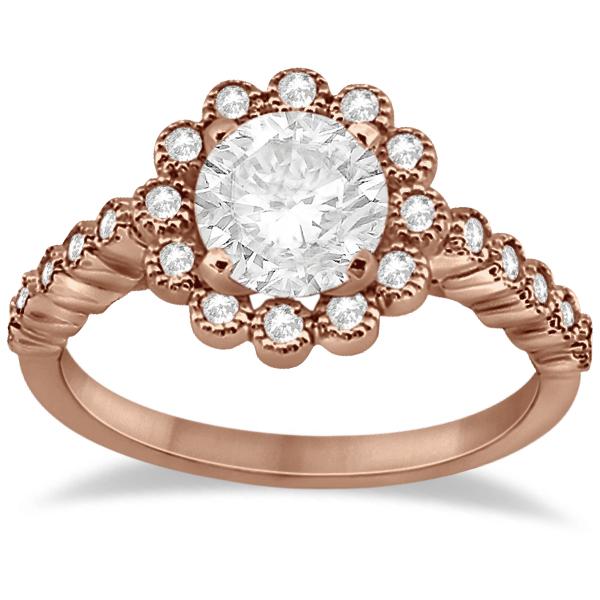 Diamond Halo Flower Engagement Ring & Wedding Band 14k Rose Gold (0.53ct)