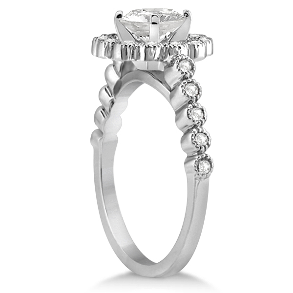Diamond Halo Flower Engagement Ring & Wedding Band 14k White Gold (0.53ct)