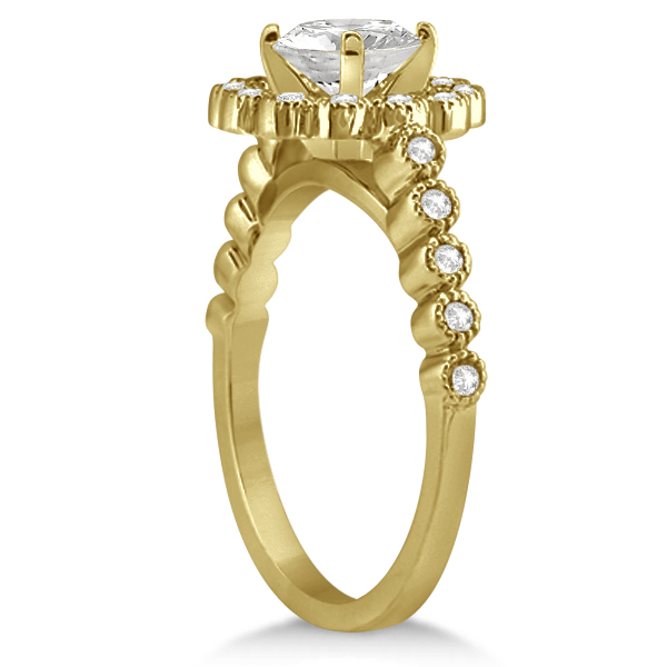 Diamond Halo Flower Engagement Ring & Wedding Band 14k Yellow Gold (0.53ct)