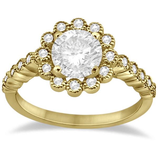 Diamond Halo Flower Engagement Ring & Wedding Band 18k Yellow Gold (0.53ct)