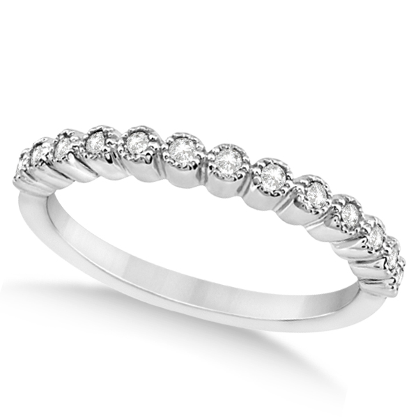 Petite Bezel Set Diamond Wedding Ring 14k White Gold (0.20ct)