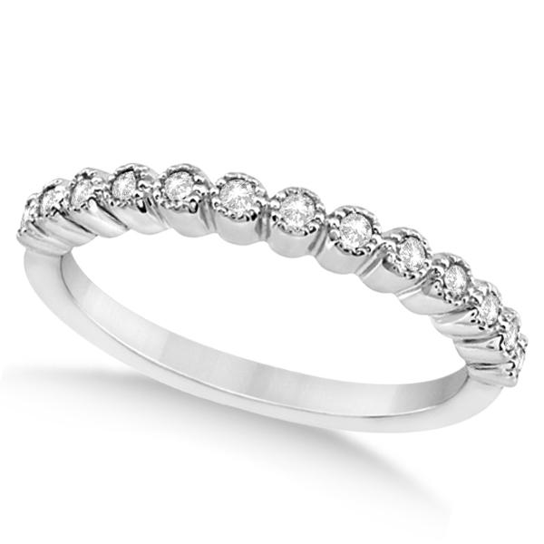 Petite Bezel Set Diamond Wedding Ring 14k White Gold (0.20ct)