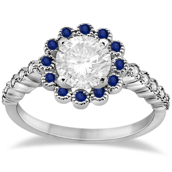 Flower Diamond & Blue Sapphire Engagement Ring 14k White Gold (0.46ct)