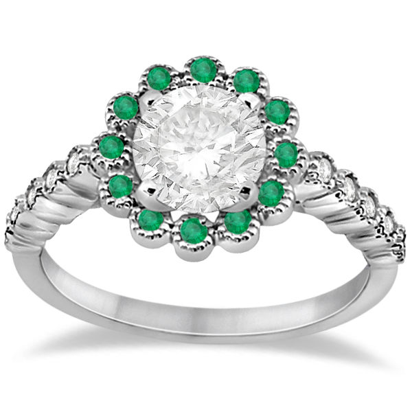Flower Diamond and Emerald Bridal Ring Set 14k White Gold (0.65ct)
