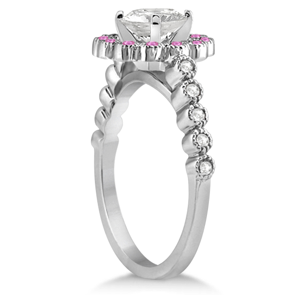 Flower Diamond & Pink Sapphire Engagement Ring 14k White Gold (0.46ct)