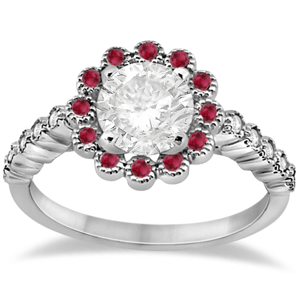 Flower Diamond and Ruby Bridal Ring Set 14k White Gold (0.71ct)