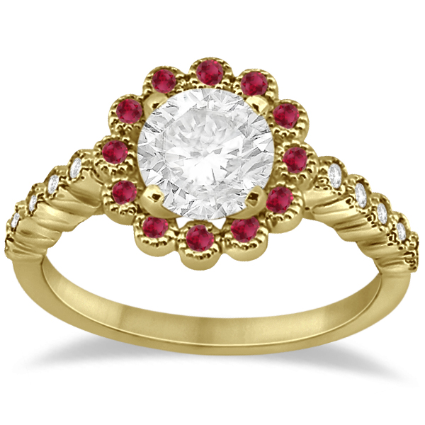 Flower Diamond and Ruby Bridal Ring Set 14k Yellow Gold (0.71ct)