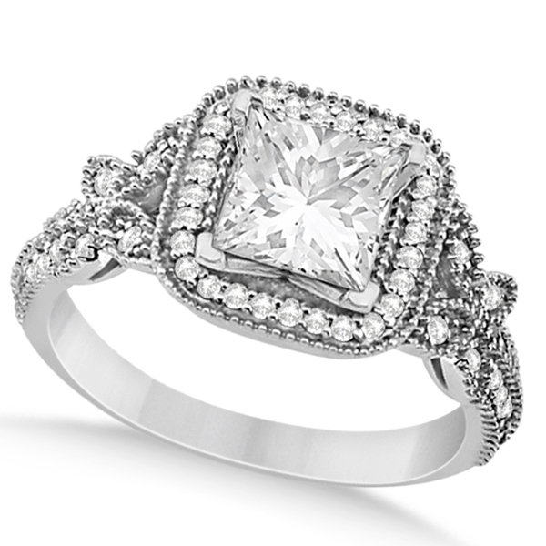 Butterfly Square Halo Diamond Engagement Ring Platinum (0.34ct)
