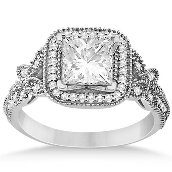 Butterfly Square Halo Design Diamond Bridal Set 14k White Gold 0.51ct