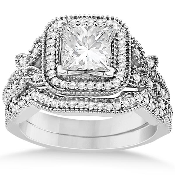 Butterfly Square Halo Design Diamond Bridal Set Platinum 0.51ct