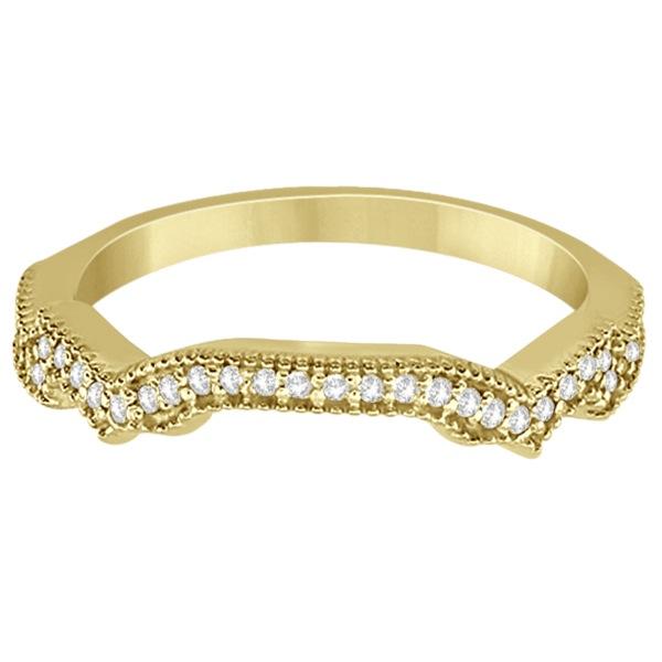 Contour Semi Eternity Diamond Wedding Band in 14k Yellow Gold (0.17ct)