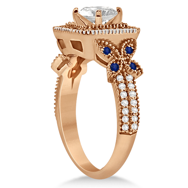 Blue Sapphire Square Halo Butterfly Bridal Set 14k Rose Gold 0.51ct