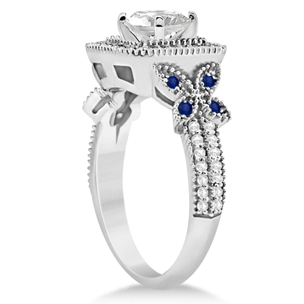 Blue Sapphire Square Halo Butterfly Bridal Set 14k White Gold 0.51ct
