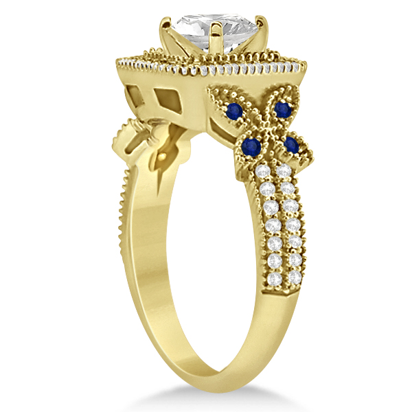 Blue Sapphire Square Halo Butterfly Bridal Set 14k Yellow Gold 0.51ct