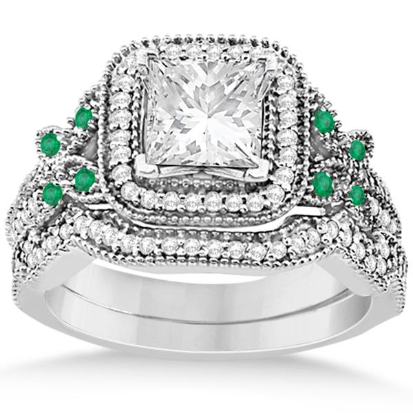 Emerald Square-Halo Milgrain Bridal Set 14k White Gold (0.51ct)