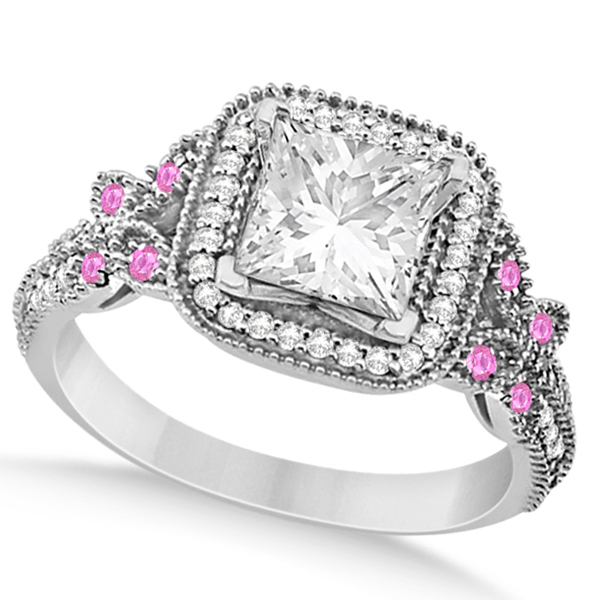 Pink Sapphire Square Halo Butterfly Engagement Ring 14k White Gold 0.34ct