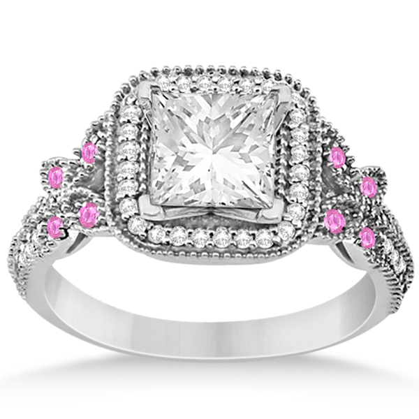 Pink Sapphire Accent Butterfly Halo Bridal Set 14k White Gold 0.51ct