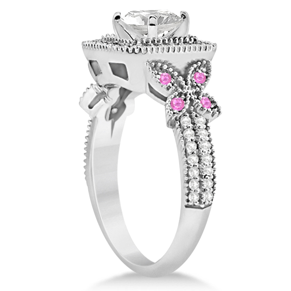 Pink Sapphire Accent Butterfly Halo Bridal Set Platinum 0.51ct