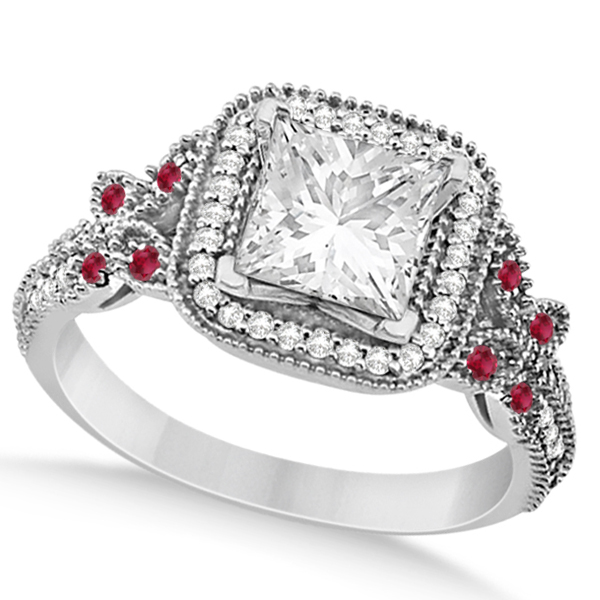 Butterfly Square Halo Ruby Engagement Ring Platinum (0.34ct)
