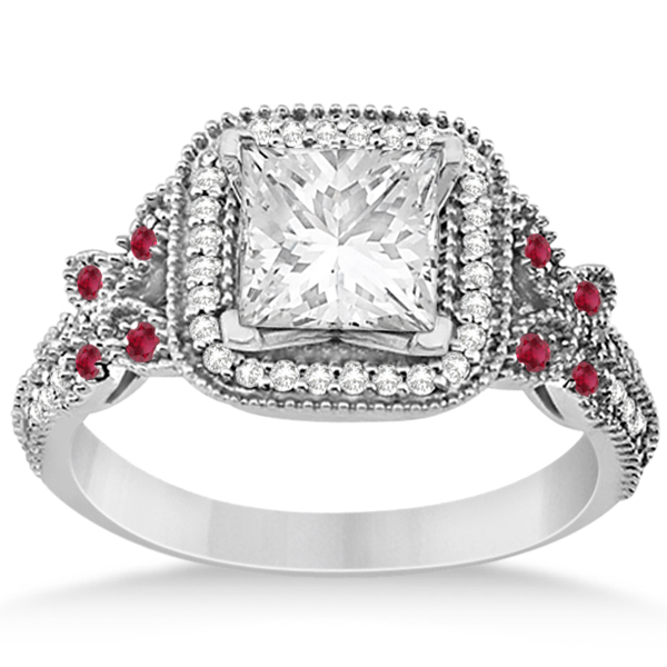 Ruby Square Halo Butterfly Bridal Set 14k White Gold 0.51ct