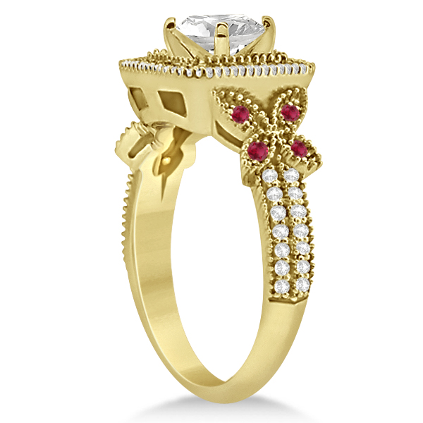 Ruby Square Halo Butterfly Bridal Set 14k Yellow Gold 0.51ct