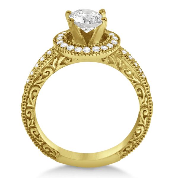 Filigree Carved Halo Diamond Engagement Ring 14k Yellow Gold (0.30ct)