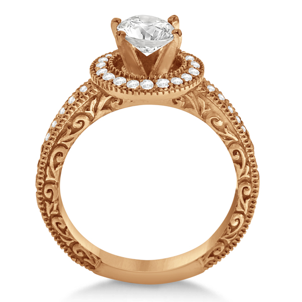Filigree Carved Halo Diamond Engagement Ring 18k Rose Gold (0.30ct)