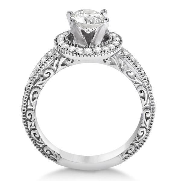 Filigree Carved Halo Diamond Engagement Ring 18k White Gold (0.30ct)