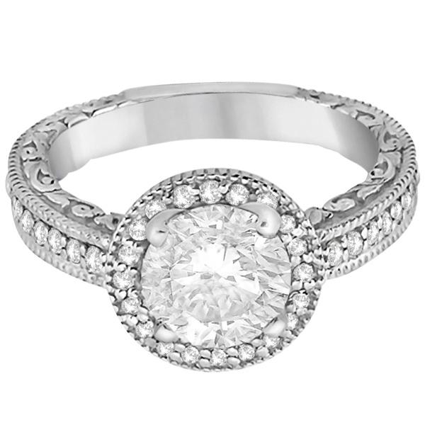 Filigree Carved Vintage Halo Diamond Engagement Ring Platinum (0.30ct)