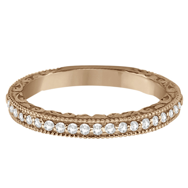 Milgrain & Filigree Diamond Wedding Band 14kt Rose Gold (0.20ct.)