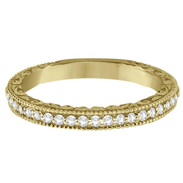 Milgrain & Filigree Diamond Wedding Band 14kt Yellow Gold (0.20ct.)