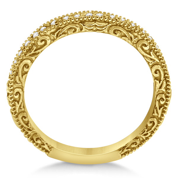 Milgrain & Filigree Diamond Wedding Band 18kt Yellow Gold (0.20ct.)